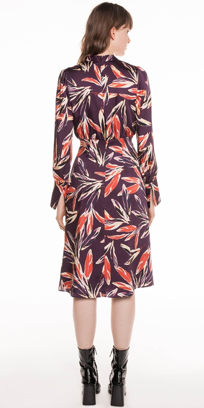Dresses   Abstract Feather Satin Dress