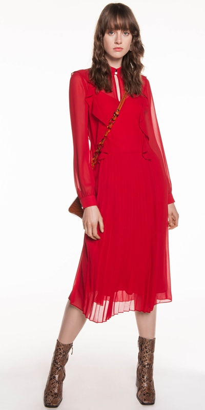 Made in Australia | Rouge Pleated Georgette Dress