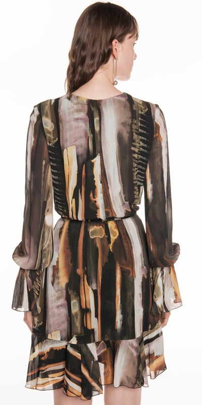 Dresses | Bronze Watercolour Georgette Dress