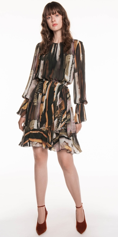 Sale  | Bronze Watercolour Georgette Dress
