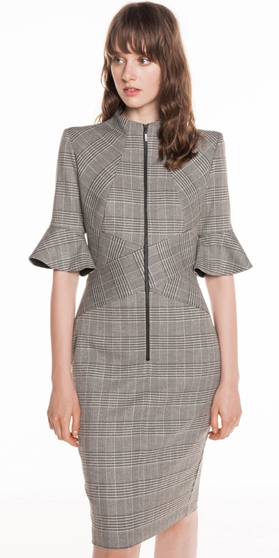 Dresses  | Houndstooth Funnel Neck Dress