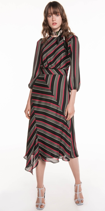 Dresses | Highlight Stripe Chiffon Dress