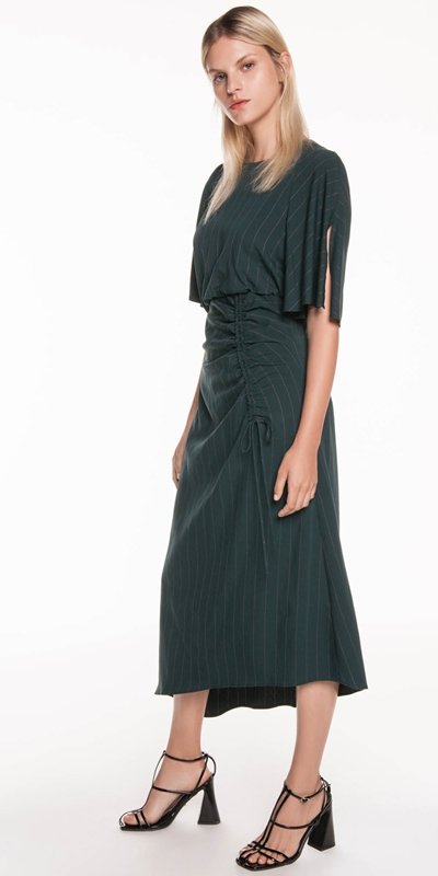 Made in Australia | Twill Pinstripe Kimono Sleeve Dress
