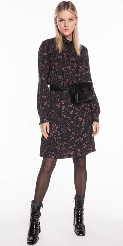 Dresses | Floral Jacquard Gathered Waist Dress