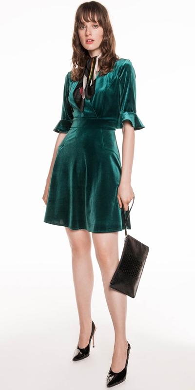 Made in Australia  | Knitted Velvet Wrap Dress