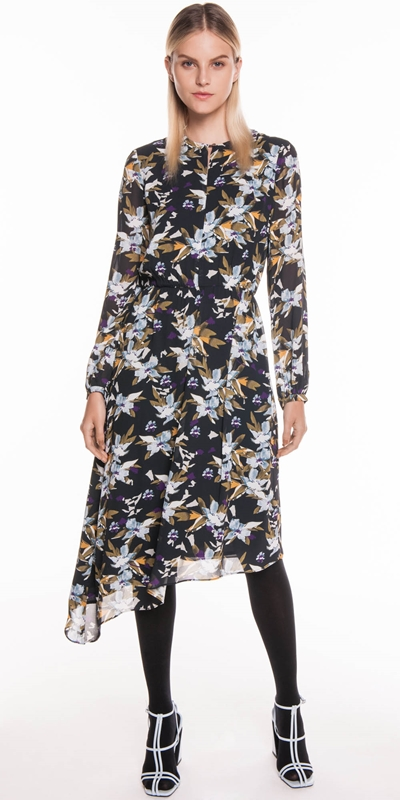 ca0e8385c2c41 Sale | Graphic Floral Asymmetric Hem Dress ...