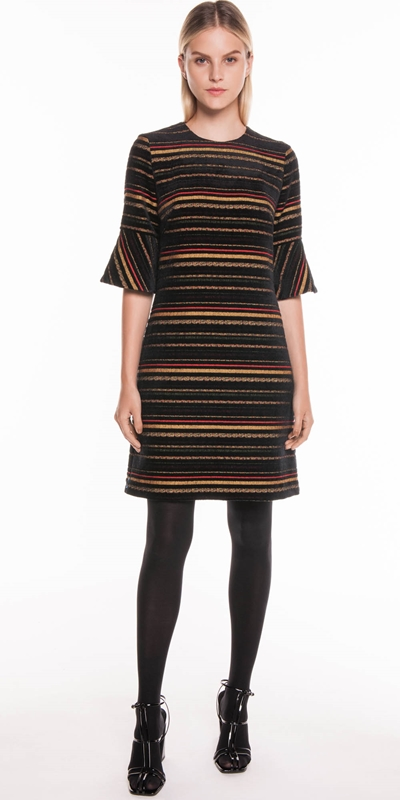 Dresses | Chenille Stripe Jacquard Dress