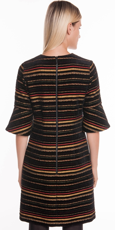 Dresses   Chenille Stripe Jacquard Dress