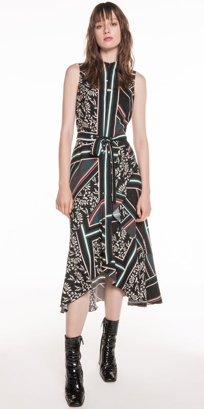 Dresses | Scarf Print Longline Frill Dress