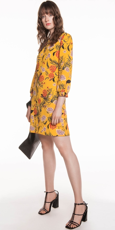 Made in Australia | Golden Wallpaper Floral A-line Dress
