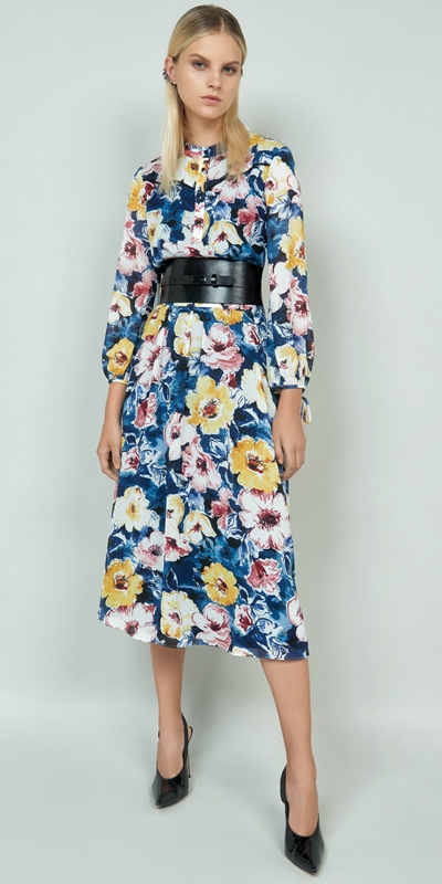 Made in Australia  | Watercolour Blossom Midi Dress