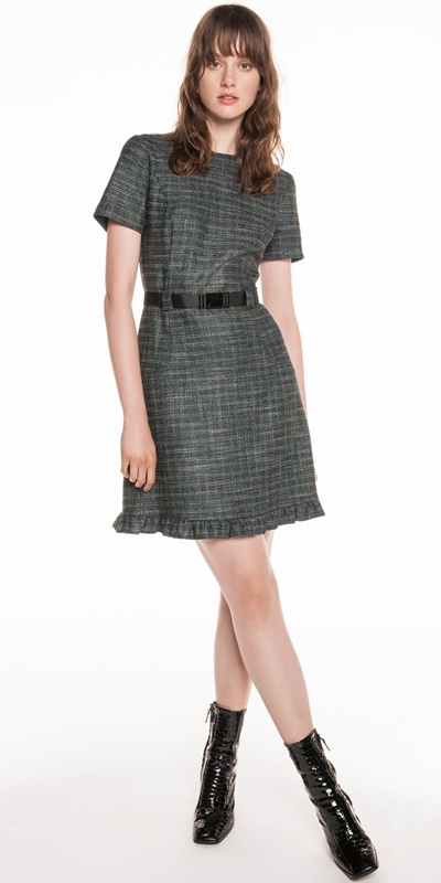 Dresses | Tweed Belted Dress