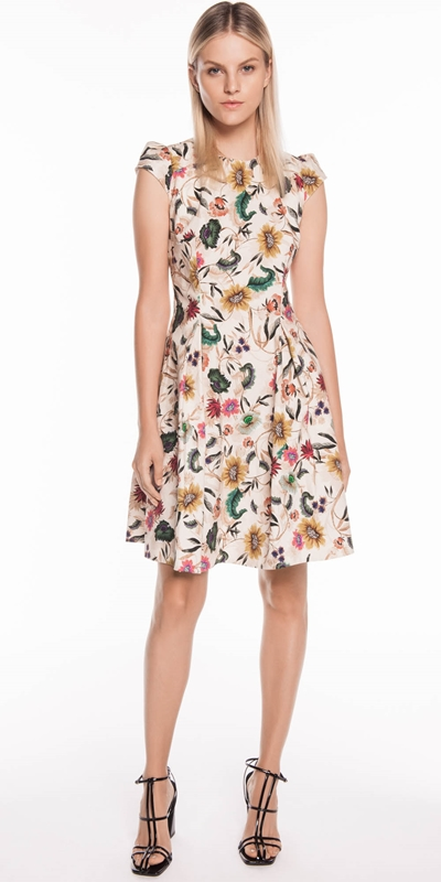Wear to Work | Vivid Floral Cap Sleeve Dress