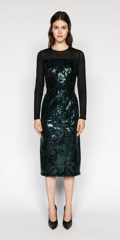 Sale | Feathered Sequin Midi Dress