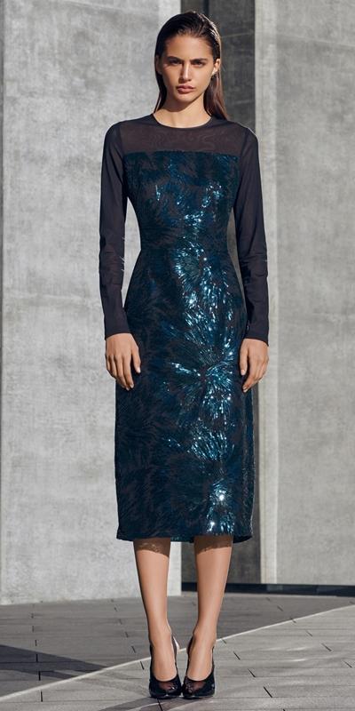 Dresses   Feathered Sequin Midi Dress
