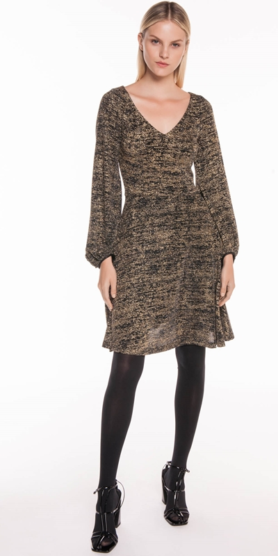 Sale | Sparkle Knit Blouson Sleeve Dress