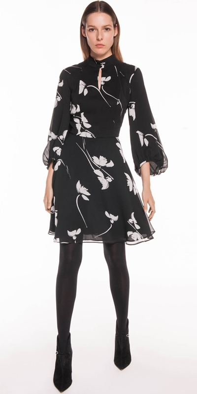 Made in Australia | Monochrome Poppy Blouson Sleeve Dress
