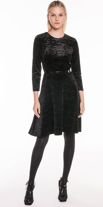 3eaa92a84586 Crushed Velvet Belted Midi Dress | Buy Dresses Online - Cue