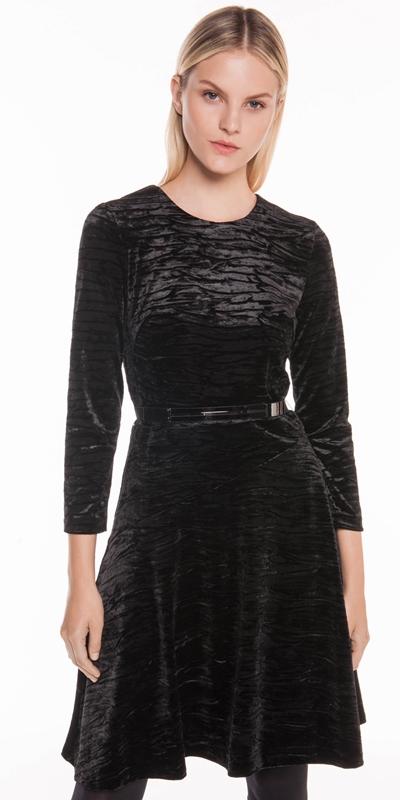 Dresses | Crushed Velvet Belted Midi Dress
