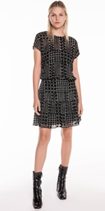 Dresses | Silk Houndstooth Burnout Dress