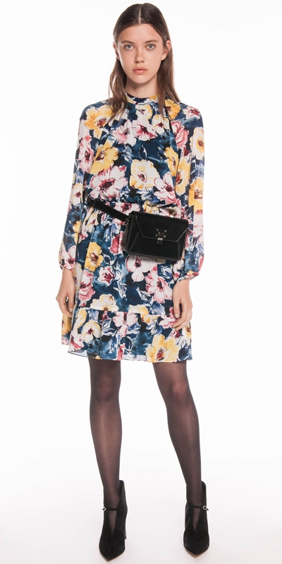 Made in Australia | Watercolour Blossom Blouson Sleeves Dress