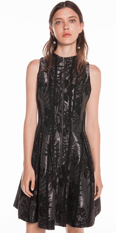 Dresses | Flocked Stripe Jacquard Dress