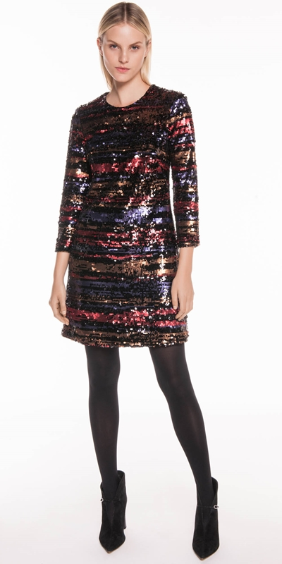 Dresses | Metallic Shimmer Sequin Shift Dress