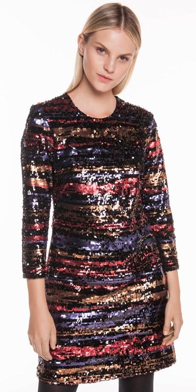17104a67 ... New Arrivals | Metallic Shimmer Sequin Shift Dress