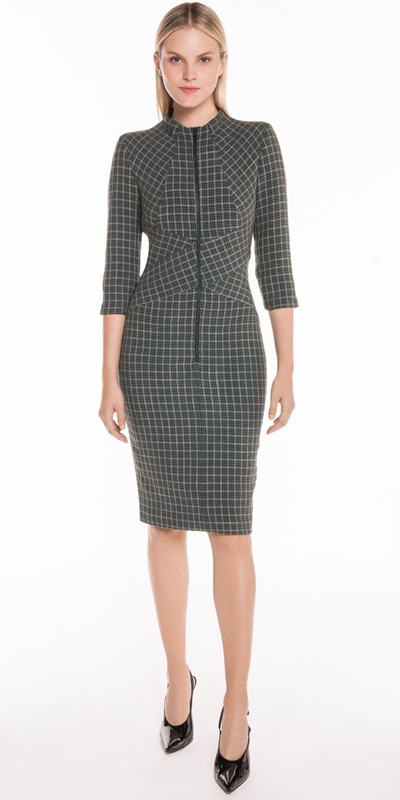 Made in Australia | Mini Tartan Zip Front Dress