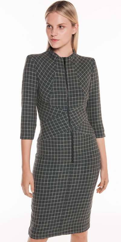 Sale  | Mini Tartan Zip Front Dress