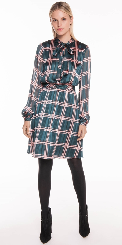Sale | Satin Check Tie Neck Dress