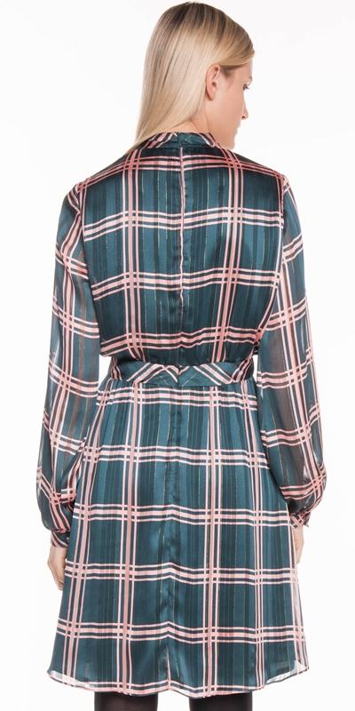 Dresses | Satin Check Tie Neck Dress