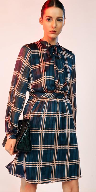 Dresses   Satin Check Tie Neck Dress