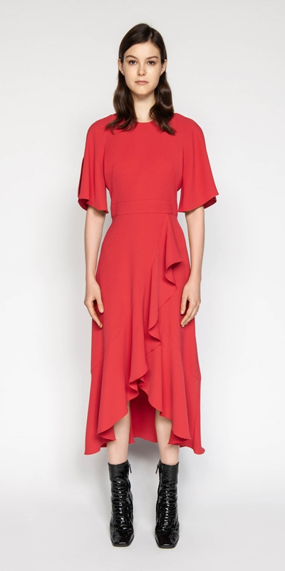 Sale | Crepe Asymmetric Frill Dress