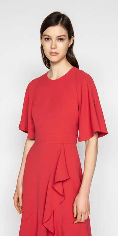 Dresses  | Crepe Asymmetric Frill Dress