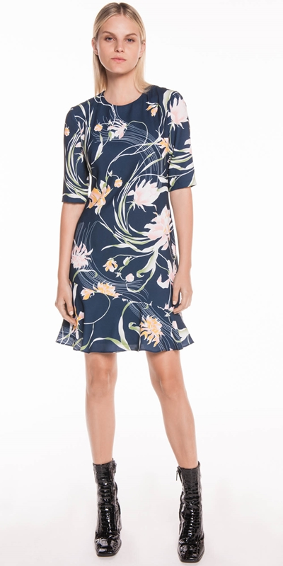 Dresses | Oriental Lily Fluted Hem Dress