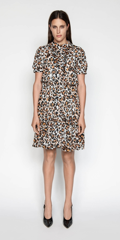 Sale | Ikat Leopard Ruffle Dress