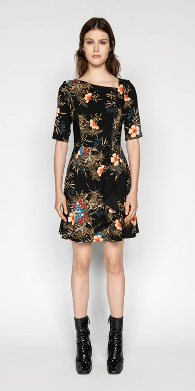Made in Australia | Midnight Floral Asymmetric Dress