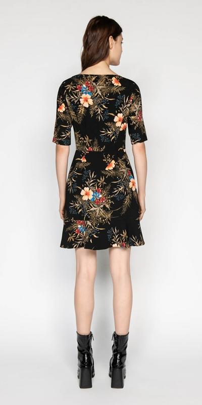 Dresses   Midnight Floral Asymmetric Dress