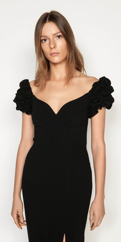 Dresses | Ruffled Shoulder Evening Dress