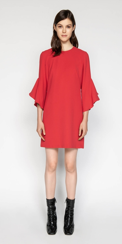 Dresses | Crepe Fluted Sleeve Shift Dress