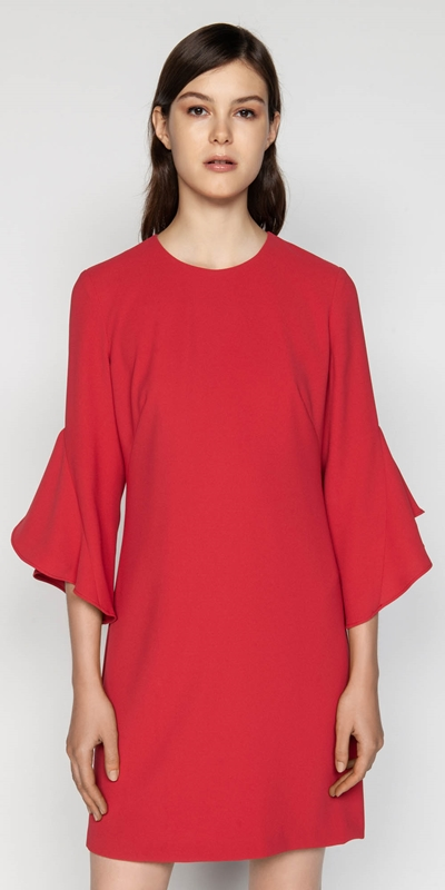 Sale  | Crepe Fluted Sleeve Shift Dress
