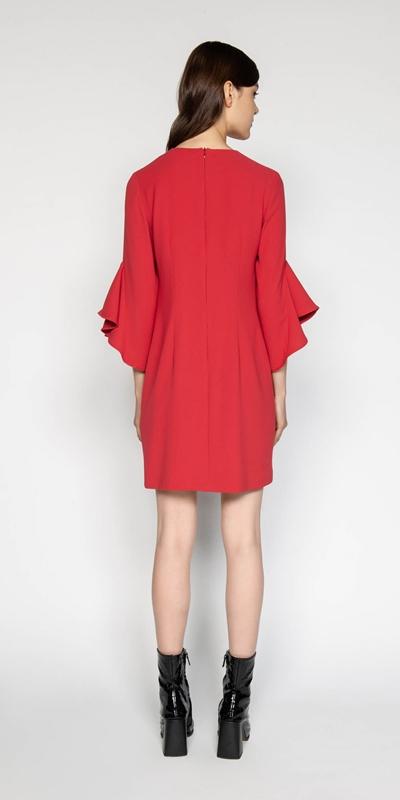 Dresses | Crepe Fluted Sleeve Shift Dress