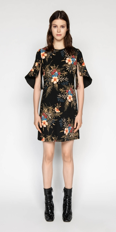 Dresses | Midnight Floral Split Sleeve Dress