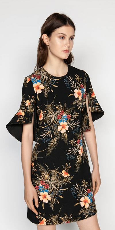 Made in Australia  | Midnight Floral Split Sleeve Dress