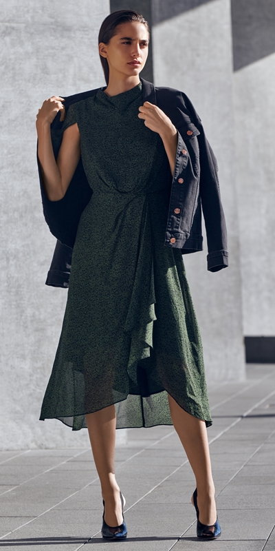 Dresses | Python Draped Waist Dress