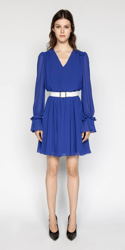 Made in Australia | Cobalt Chiffon Pleated Dress