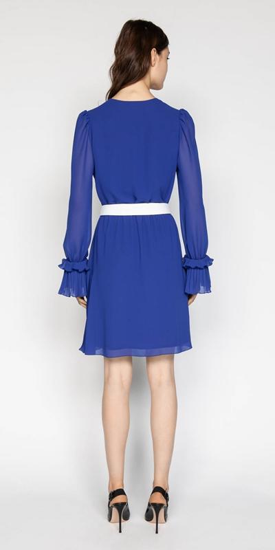 Dresses | Cobalt Chiffon Pleated Dress