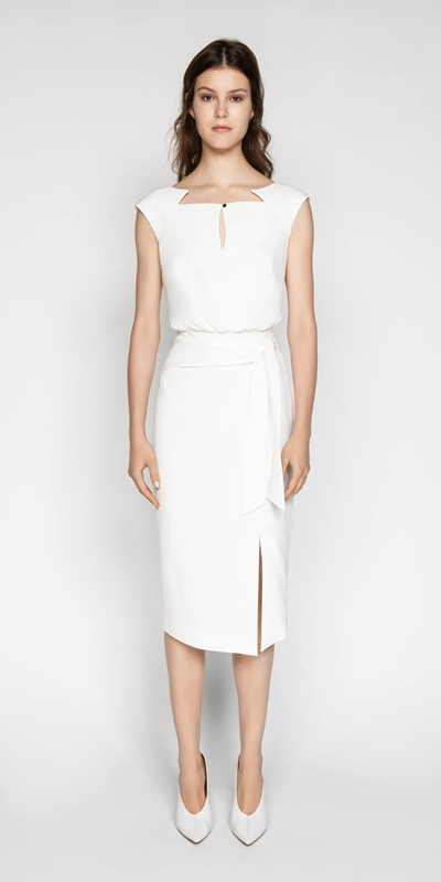 Sale | Ivory Sculptured Pencil Dress