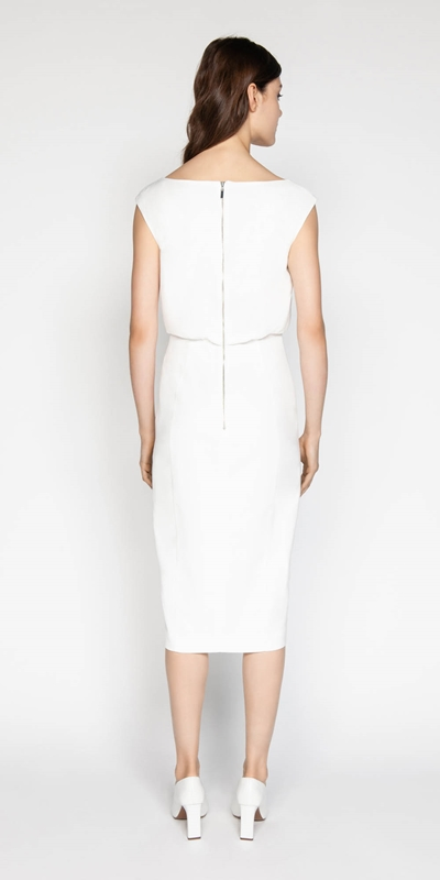 Dresses   Ivory Sculptured Pencil Dress